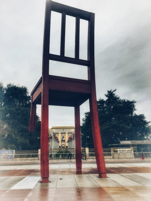 Broken Chair Monument at the United Nations Entrance