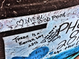 our smudgy signatures on the Peace Wall