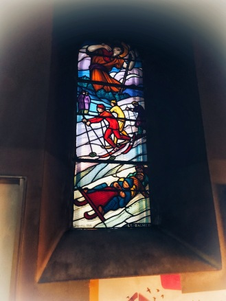 Ski themed stain glass at church