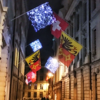 Geneva Lights & cantonal flags